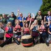 MQP employees taking part in a Dragon Boat Challenge in aid of Rainbows Hospice for Children and Young People..
